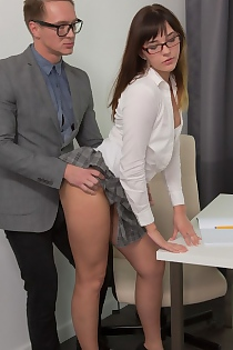 Brunette Schoolgirl Katty Blessed Fucked By Her